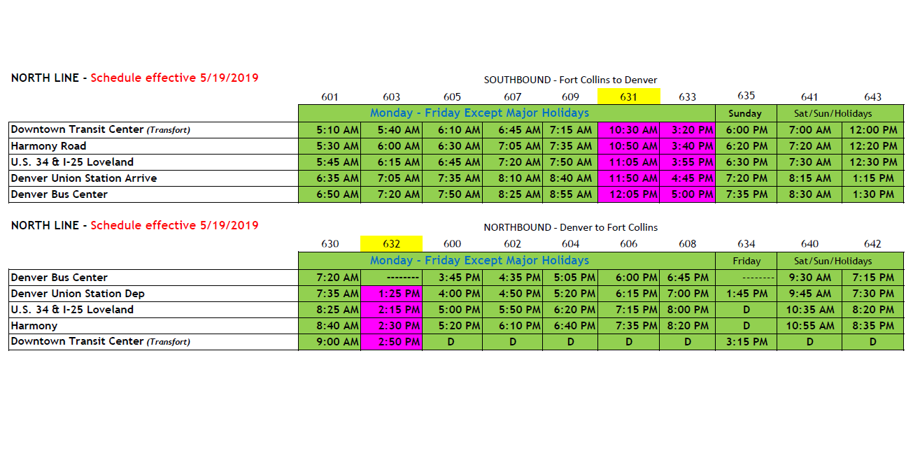 Bustang Bus Schedule Denver Fort Collins Colorado